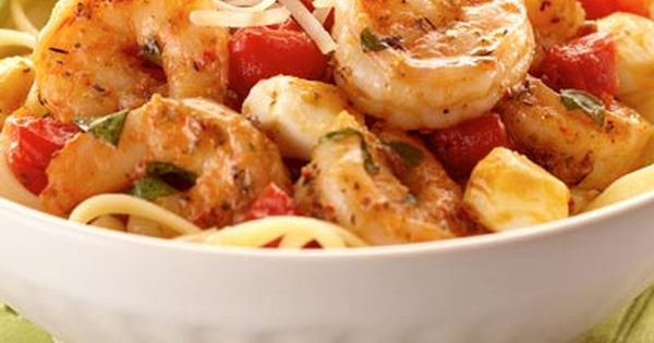 Italian Shrimp Caprese Pasta Recipe | 8 ounces uncooked dried linguine, 2