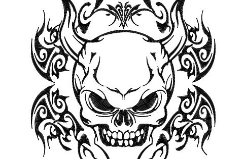 demon coloring pages | Tribal Skull - Demon | Paintings ...