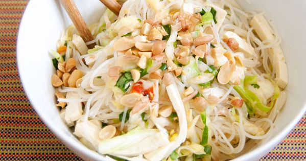 Vegetarian: Spicy Rice Noodle Salad with Cabbage and Tofu | Cabbages ...