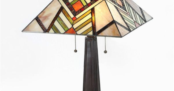 Tiffany style stained glass mission arts crafts table lamp