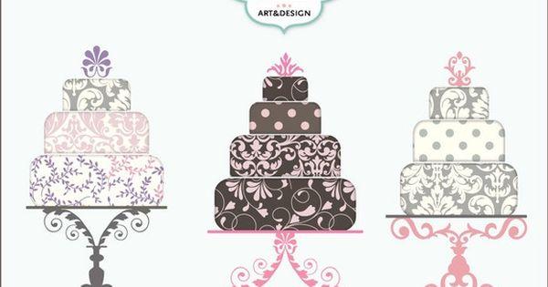 Pink Sorbet Wedding Cake Clip Art Digital Illustration