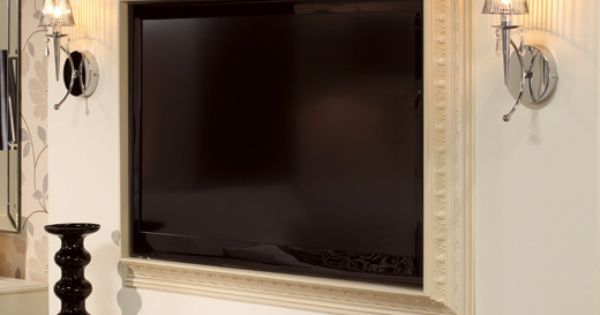 molding frame for flat screen TV. Love this idea for master bedroom