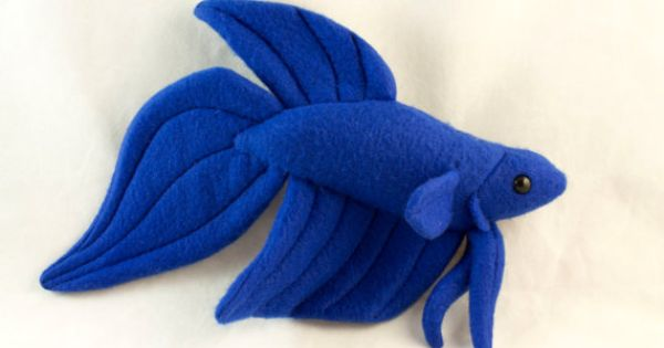 Betta fish plush royal blue veil tail by beezeeart on etsy for Betta fish toys