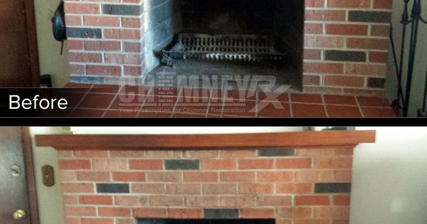 Smoke Stains On A Fireplace Before And After Being Cleaned With Paint N Peel Fireplace