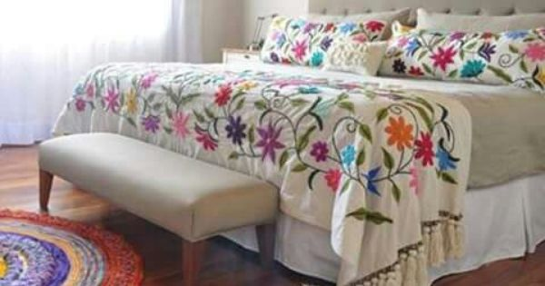 Estilo romantico para tu habitacion decoraci n Mexican embroidered bedding