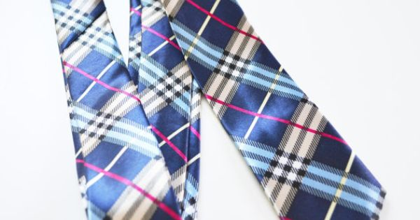 Back in Stock - Limited Quantities - Mens Tie Multi Color Blue Modern Tartan Pattern by TiestheKnot, $8.99