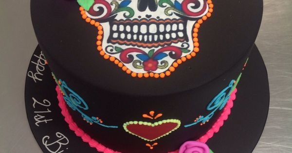 Day of the Dead, skull, Halloween theme cake - Day of the