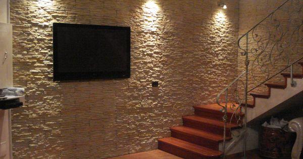idee Scala Pietra : Parete di un living e vano scala con pietra ricostruita PETRA by ...