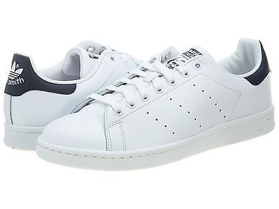 Adidas Stan Smith Mens M20325 White Navy Blue Athletic Shoes