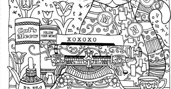 Advanced Cat Coloring Pages : Abstract doodle coloring pages colouring adult detailed