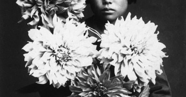 Portrait of Yayoi Kusama. Love the dinner plate dahlias~