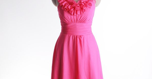 Halter A-line chiffon dress