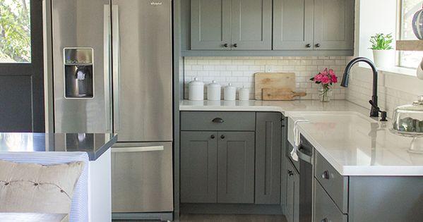 Grey Kitchen - Shaker Cabinet Door Style - Wood Floors - White