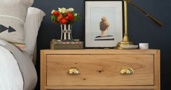 Navy And Gold Bedside Lamps: Ikea Hack Brass Pulls // Http://www.ruemag.com/decor