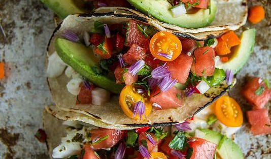 Grilled Halibut Tacos with Watermelon Salsa | Tacos ...