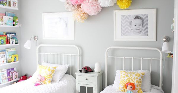 For the girls room, dove grey walls and pompoms