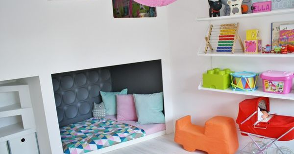 Fun reading nook in the kids' playroom.