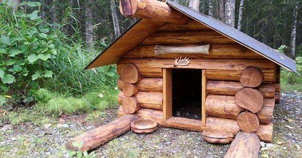 What A Cute Log Cabin Dog House Pet Enclosures