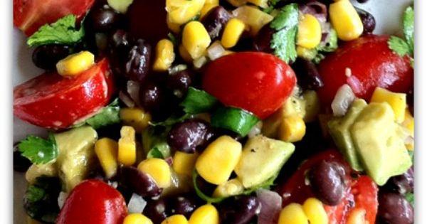 California Summer Salad ~fresh corn or frozen organic corn, cherry tomatoes, red