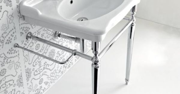 Pedestal sink with metal legs hermitage console 92 for Pedestal sink with metal legs