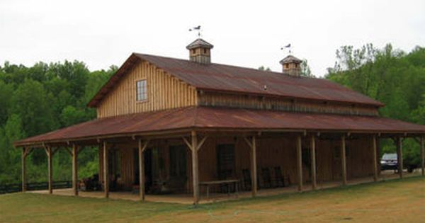 Wrap around barn porch sand creek post beam for Barn style house plans with wrap around porch