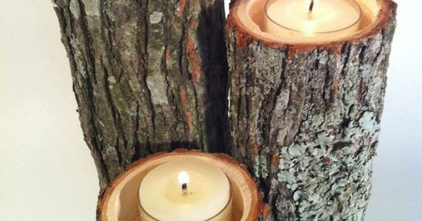 DIY, Rustic, Candle, Holders, Branch, Tree, Stump, Wood, Decor