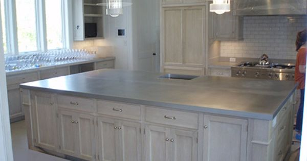 Large french country kitchen island zinc countertop for Zinc countertop cost