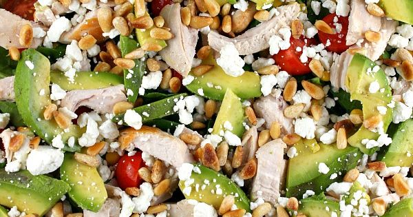 Power salad Recipe : chicken, avocado, pine nuts, feta cheese, tomatoes and
