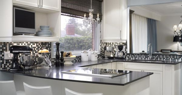 Candice Olson Love this shiny, bright white black kitchen design with crisp