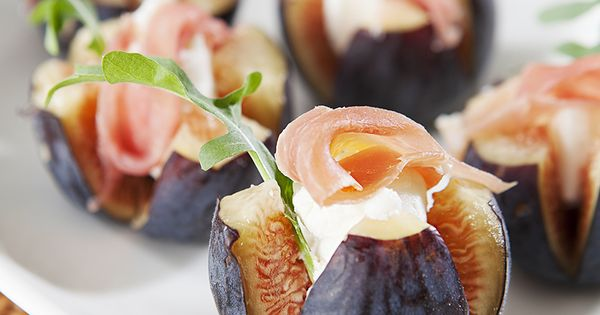 Fig & Chevre Canapes. Yum! How to make it veggie/ pescatarian friendly....
