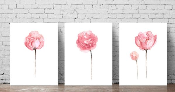 Peony Watercolor Painting Shabby Chic Home Decor Abstract