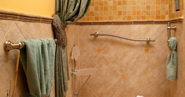 A Curbless Shower That Showcases Great Grab Bars And