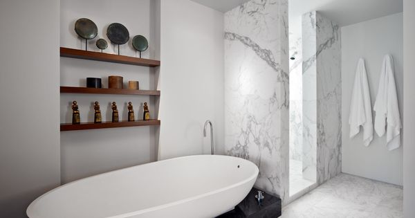 Stylish Black And White Bathroom With Marble Surface And