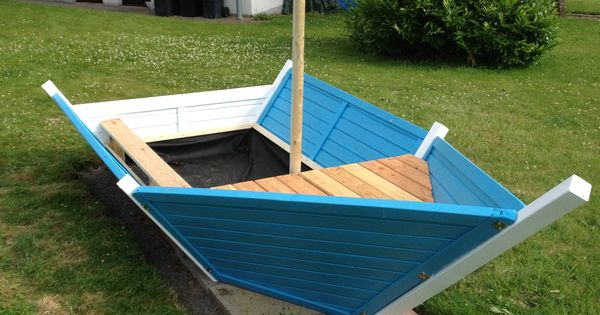 Frontansicht diy sandkasten boot pinterest kids play for Gartengestaltung trampolin