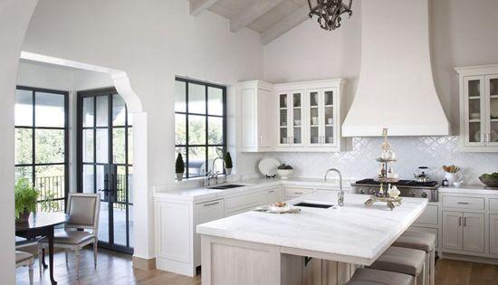All White Kitchen Design With Wrought Iron Lantern Style Pendant Light Interior Design