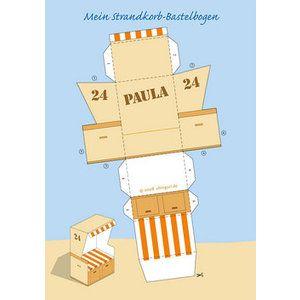 Individueller Strandkorb Papiermodell Bastelbogen Papiermodell Bastelbogen Geschenke Basteln