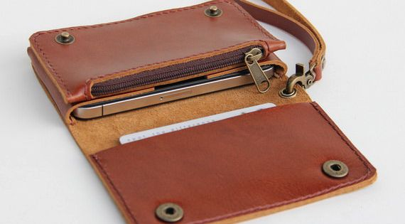 Leather iPhone wallet case with mini zipper in by BluePetalz, $35.00 +$6.00