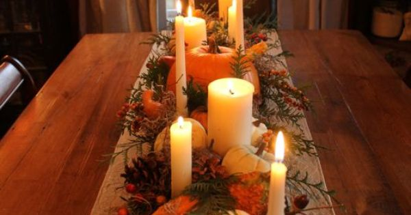 long wood box, stain, and add spanish moss, pumpkins, pinecones, candles, etc....perfect