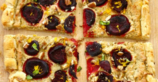 Rustic Beet Tart with Cashew Ricotta, Orange Zest, Walnuts Basil - Vegan...this