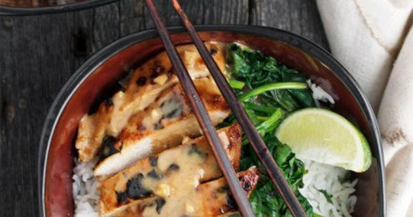 Thai Pork Rice Bowl with Peanut Sauce and Lime Rice   Recipe   Peanut ...