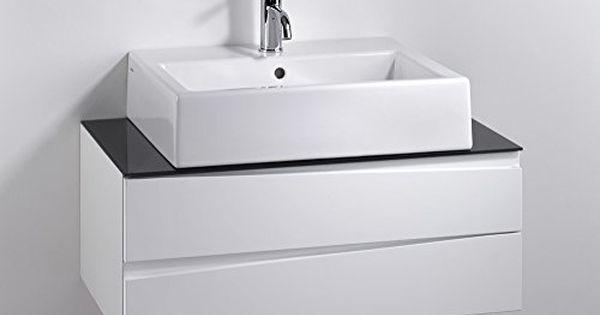 Cavadore Waschtisch Sharpcut Bad Weisser Badezimmerunterschrank