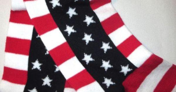 K Bell Women American Flag Stars and Stripes Knee High Sock 9-11