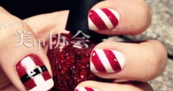 candy cane nail idea