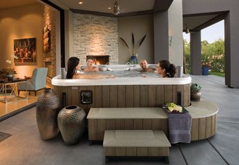 Step Right Up With Spa Steps Surrounds And Enclosures Aqua Magazine Indoor Hot Tub Hot Tub Surround Hot Tub Patio