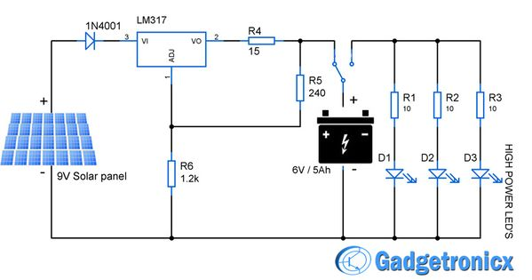 Solar powered    led    light circuit    diagram    and schematic design Emergency household lighting using