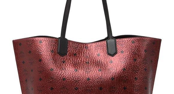 Mcm Med Spot Visetos Leather Shopper Metallic Red Leather Shopper Bag Mcm Bag Tote Shopper Tote