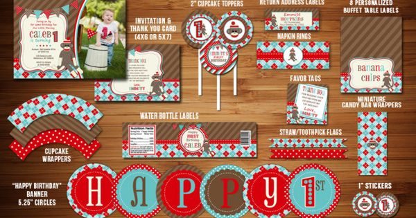 Printable sock monkey birthday party package sock monkey for 1st birthday decoration packages