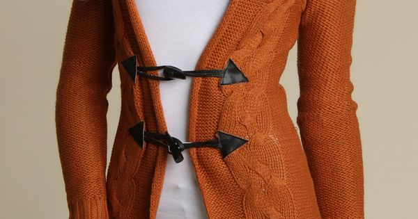 Yoki Toggle Closure Sweater In Rust...would be so adorable and comfy with