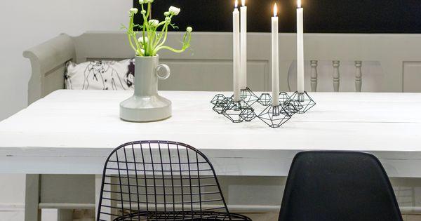 Handgemaakte eettafel met eames stoelen in ontwerp van stijlburospot in groningen studio ideas - Concrete effect tafel ...