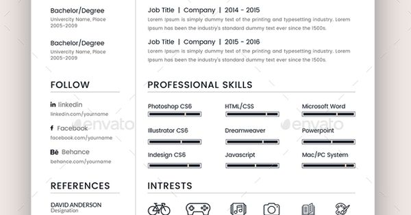 resume template indesign indd a4 us letter size